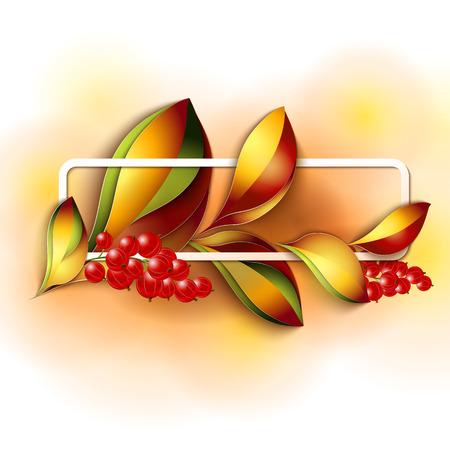 leaves frame: Colorful autumn leaves frame  Paper design Vector