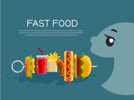 opened mouth: Fast food concept banner flat design. Cartoon person with opened mouth eating food on skewer