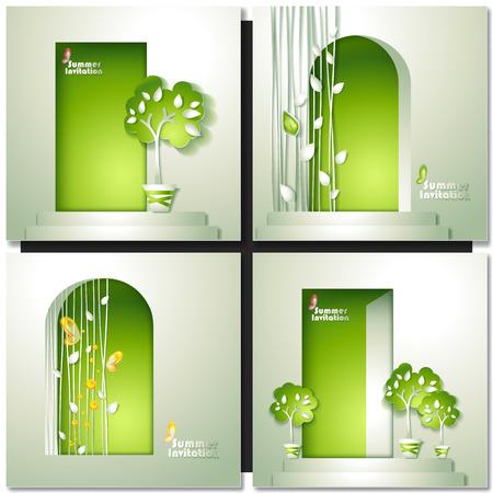 green door: Green nature Invitation with door and tree. Paper design greeting card
