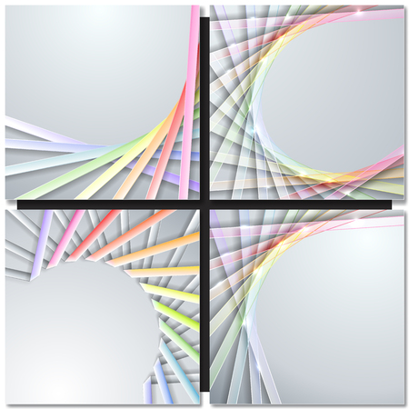 gray strip backdrop: Abstract paper rainbow ribbons on gray background