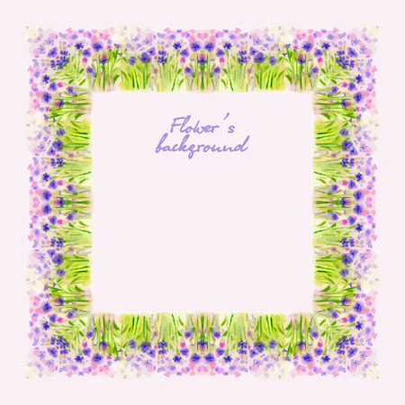 wild flower: Watercolor Wild Flower Vector Border for decoration of greeting card