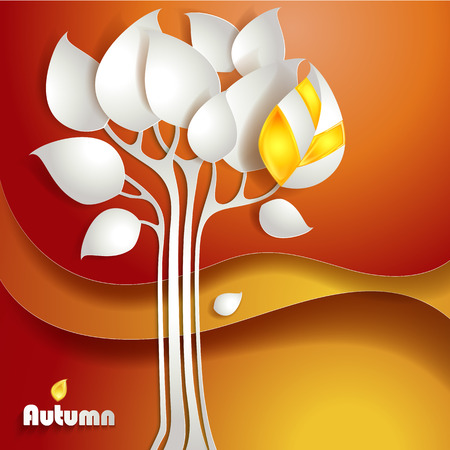 background  paper: Autumn tree background. Vector paper design illustration