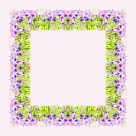 borde de flores: Acuarela de la flor salvaje, Vector para la decoración de tarjetas de felicitación