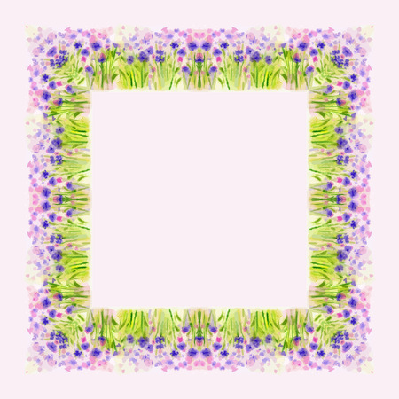 flower border: Watercolor Wild Flower Vector Border for decoration of greeting card