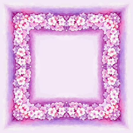 pink flower: Watercolor Pink Flower Vector Border for decoration of greeting card