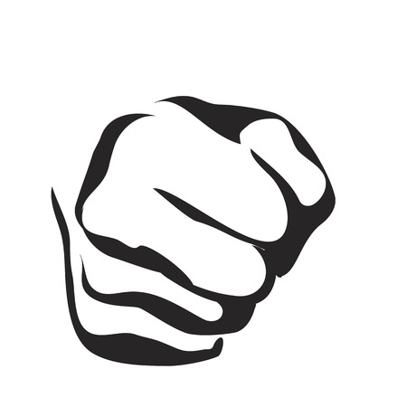 agressive: Vector Line Contour Graphic Art Fist