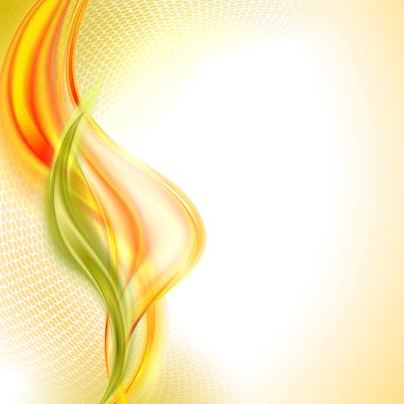 抽象的なオレンジ波のベクトルの背景。秋の紅葉