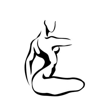 nude girl: Art sketch of sitting beautiful young sexy woman, vector illustration Illustration