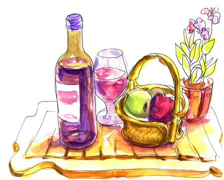 watercolor pen: Wine tasting sketch - pen and watercolor drawings of wine glass, bottle, fruits and flowers isolated on white background