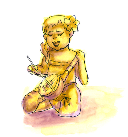 pretty smile: Funny cartoon girl playing the banjo. Hand drawn liner sketch with watercolor