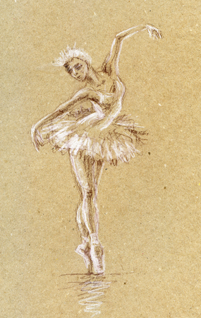 ballet studio: Art sketch Ballerina. Sangina drawing. Brown and white