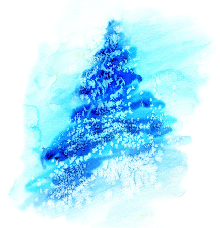 pine trees: Watercolor illustration of spruce Christmas tree in snow.
