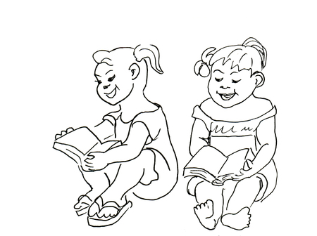 small girls: Small Girls sitting and reading a book. Hand drawn ink sketch doodles
