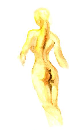 cuerpos desnudos: La mano acuarela pintada cuerpo silhuettes mujer hermosa Foto de archivo