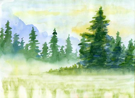 水彩画の背景にモミの木、霧の山