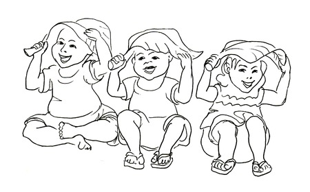 children art: Kids sitting under a leaf. Ink style drawing. Doodle sketch.