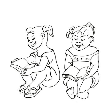 grandchild: Small Girls sitting and reading a book. Hand drawn ink sketch doodles