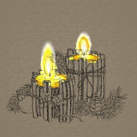 velas de navidad: Vela de la Navidad en el estilo de dibujo. Tarjeta de felicitación creativa. fondo del vector