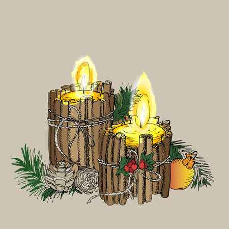white candle: Christmas Candle  in doodle style black on white coloring for creative invitation Card. Vector background