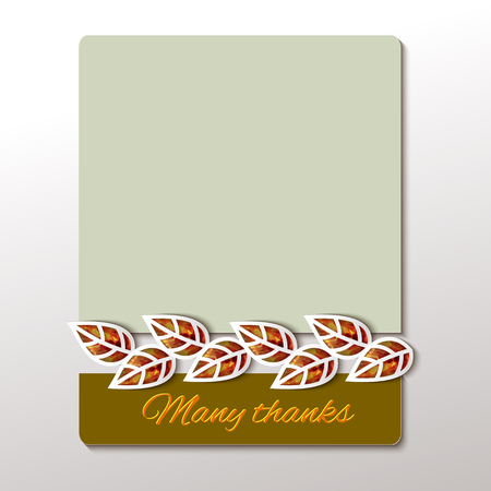gold leaf: Thanksgiving -greeting card design with gold watercolor leaf background.