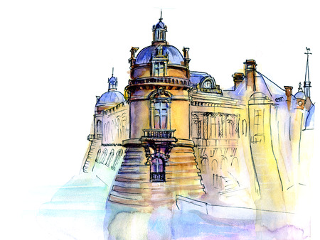 historical romance: Hand made sketch of old Franch castle. Watercolor artwork.