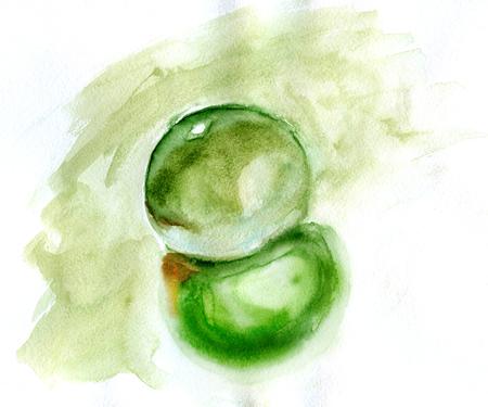 dew drop: Watercolor illustration of water drop. Morning dew