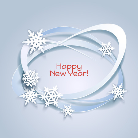 fiambres: Snowflakes holiday frame. Winter blue card for web banner invitation. Christmas background.