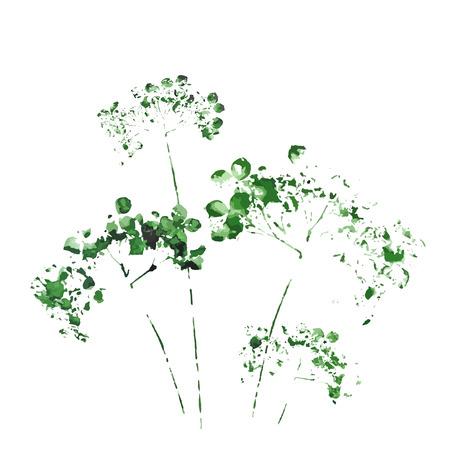 シルエットの野生の花の水彩画を描く  イラスト・ベクター素材