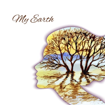 nature woman: Woman head silhouette with tree inside. Spirit of nature and earth