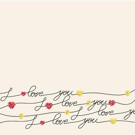hearts background: I love you, hand lettering calligraphy