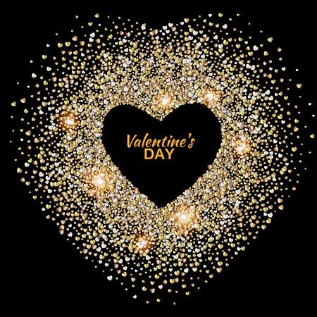 Schwarz valentines Tag Hintergrund mit glühenden Gold Herzen