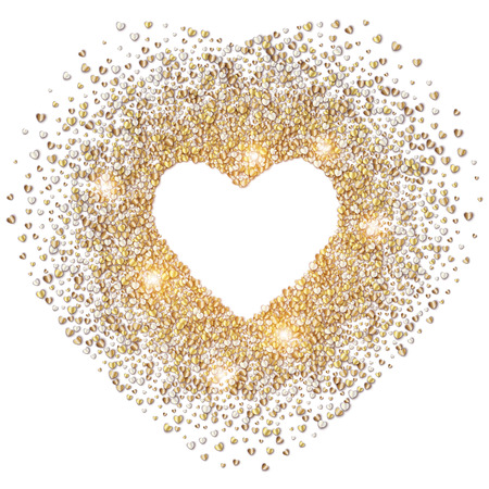 white heart: White valentines day background with glowing gold hearts Illustration