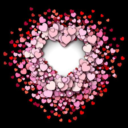 rosa negra: Fondo del día de San Valentín. Corazones rojos marco redondo Vectores