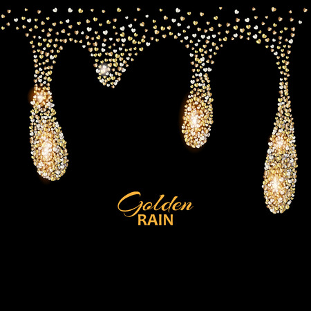 starfall: Black luxury background with Golden rain drops