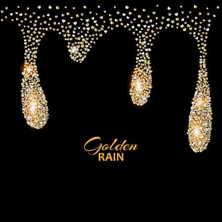 Black luxury background with Golden rain drops