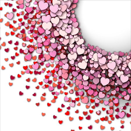 wedding border: Valentines day vector background. Red hearts round frame Illustration