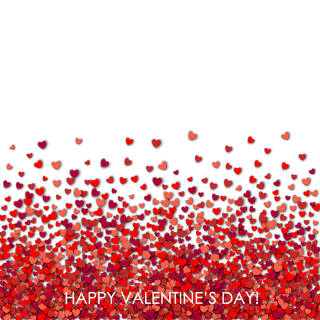 white day: Valentines day white background with hearts Illustration