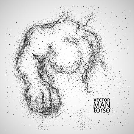 silueta masculina: torso de hombre. Dibujo gráfico con partículas negras. Ilustración del vector. Vectores