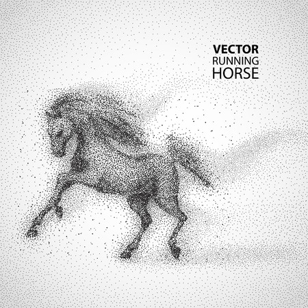 horse vector: Running horse. Particles design Vector illustration Illustration