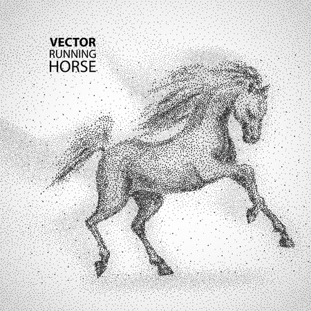 exceed: Running horse. Particles design Vector illustration Illustration