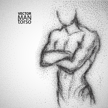torso: Man torso. Graphic drawing with black particles. Vector illustration.
