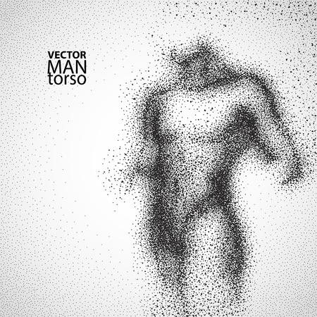 salute: Man torso. disegno grafico con particelle nere. Illustrazione vettoriale. Vettoriali