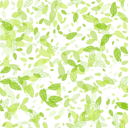 Seamless background with spring green leaves.