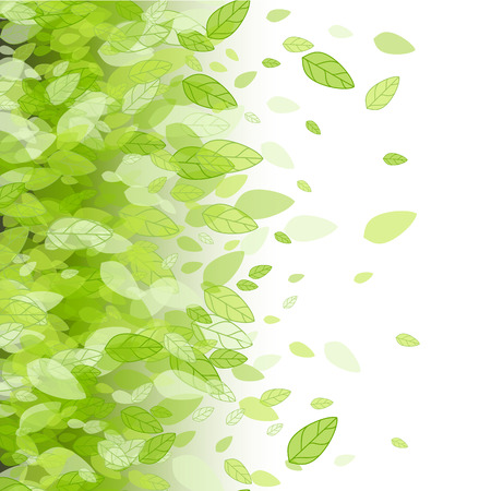 Seamless green strip background with leaves