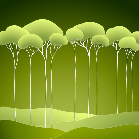 stylised: Vector illustration with stylized spring green trees Illustration