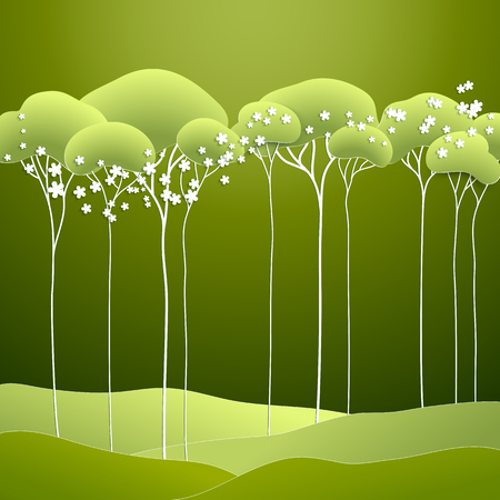 summer nature: Vector illustration with stylized spring green trees Illustration