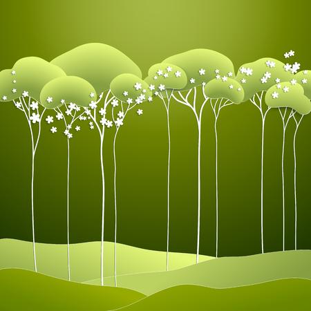 Vektor-Illustration mit stilisierten Frühjahr grünen Bäumen