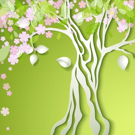 Ilustración del vector con el árbol de la primavera estilizada con flores de color rosa Ilustración de vector