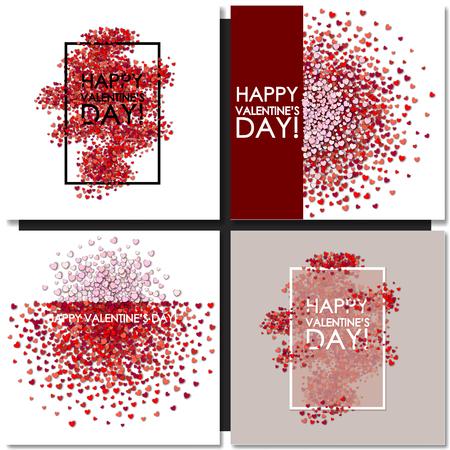Zestaw kart Valentines Day tle z serca Ilustracje wektorowe