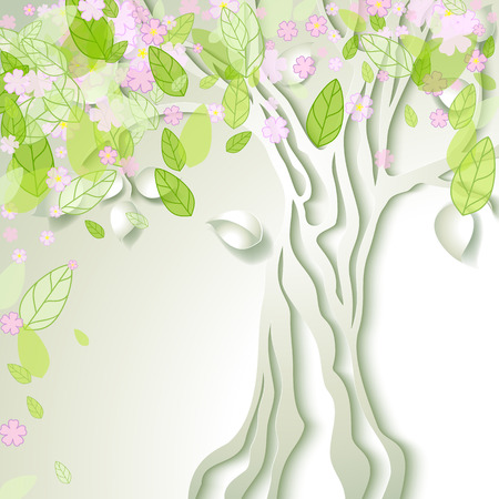 decorative design: Vector illustration with stylized spring tree with pink flowers Illustration